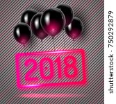 2018 new year card with neon... | Shutterstock .eps vector #750292879