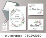 set of card with flower rose ... | Shutterstock .eps vector #750293080