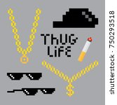 thug life style pixel set with... | Shutterstock .eps vector #750293518