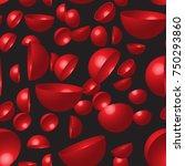 red hemispheres seamless pattern | Shutterstock .eps vector #750293860