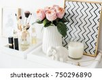ladys dressing table decoration ... | Shutterstock . vector #750296890