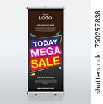 roll up brochure banner design... | Shutterstock .eps vector #750297838