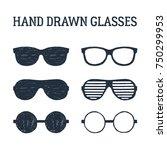 hand drawn eye glasses and... | Shutterstock .eps vector #750299953
