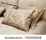 different pillows on the bed... | Shutterstock . vector #750300838
