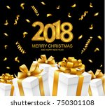 2018 merry christmas and happy... | Shutterstock .eps vector #750301108