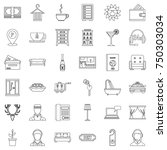 apartment icons set. outline... | Shutterstock .eps vector #750303034