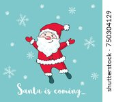 christmas greeting card with... | Shutterstock . vector #750304129