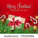 merry christmas and happy new... | Shutterstock .eps vector #750305086