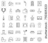 parking icons set. outline... | Shutterstock .eps vector #750305323
