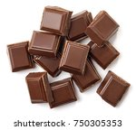 milk chocolate pieces isolated... | Shutterstock . vector #750305353