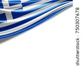 greece  flag of silk with... | Shutterstock . vector #750307678