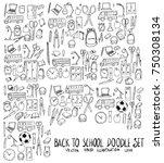 set of school illustration hand ... | Shutterstock .eps vector #750308134