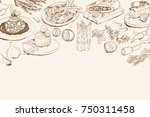 background with italian food... | Shutterstock .eps vector #750311458