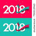 happy new year 2018. greeting... | Shutterstock .eps vector #750313963