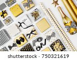 flat lay christmas or party... | Shutterstock . vector #750321619