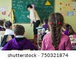 school children are... | Shutterstock . vector #750321874