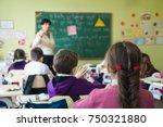 school children are... | Shutterstock . vector #750321880
