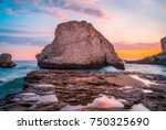 shark fin cove beach is a... | Shutterstock . vector #750325690