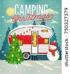 christmas vintage travel poster ... | Shutterstock .eps vector #750327379
