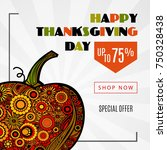 happy thanksgiving day sale... | Shutterstock .eps vector #750328438