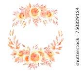 watercolor rose wreath | Shutterstock . vector #750329134