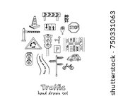 hand drawn doodle traffic set.... | Shutterstock .eps vector #750331063
