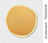 realistic pancake closeuo... | Shutterstock .eps vector #750332140