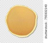 realistic pancake closeuo... | Shutterstock .eps vector #750332140