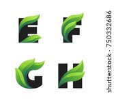 set of letters icons with green ... | Shutterstock .eps vector #750332686