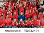 fan amongst rivals at football... | Shutterstock . vector #750333424