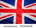 closeup of uk british flag...   Shutterstock . vector #750336358