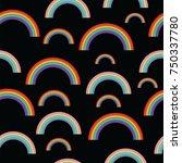 pastel rainbows on black... | Shutterstock .eps vector #750337780