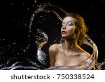 beautiful girl covered with... | Shutterstock . vector #750338524