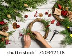 christmas handmade diy...   Shutterstock . vector #750342118