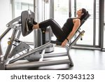 girl training at gym | Shutterstock . vector #750343123