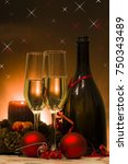 sparkling wine for christmas | Shutterstock . vector #750343489