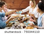 one of guests asking for slice... | Shutterstock . vector #750344110