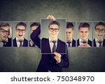 positive masked man in glasses... | Shutterstock . vector #750348970