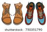 set of shoes  boots  vector... | Shutterstock .eps vector #750351790
