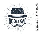 hand drawn fedora hat textured...   Shutterstock .eps vector #750352000