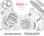 mexican food top view frame. a... | Shutterstock .eps vector #750352099