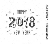 happy new year 2018 hand... | Shutterstock .eps vector #750361549