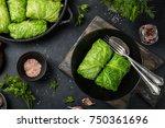 savoy cabbage rolls stuffed...   Shutterstock . vector #750361696