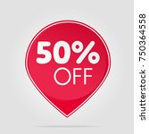 special offer tag red sale fifty | Shutterstock .eps vector #750364558