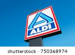 Small photo of BERLIN, GERMANY OCTOBER, 2017: Aldi sign (north division) against blue sky. Aldi is a leading global discount supermarket chain with almost 10,000 stores in 18 countries.