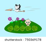 on the green glade the baby...   Shutterstock .eps vector #750369178