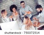 happy business team eating...   Shutterstock . vector #750372514