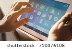 smart house device smartphone... | Shutterstock . vector #750376108