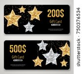 gift card design with gold... | Shutterstock .eps vector #750376534