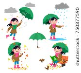 Set Of Girl With Umbrella In...